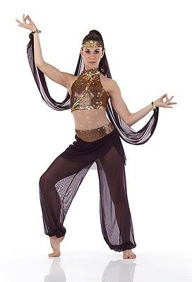 Arabesque Dance Costume Genie Christmas Ballet Jumpsuit, Sleeves Plum New