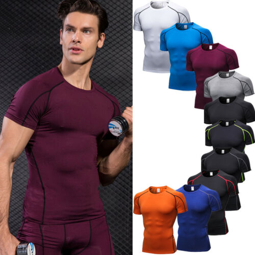CA Mens Sports Compression T-Shirt Fitness GYM Workout Running Base Layer Under