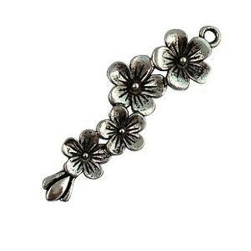 30Pcs Tibetan Silver Plum Blossom Charms T15038