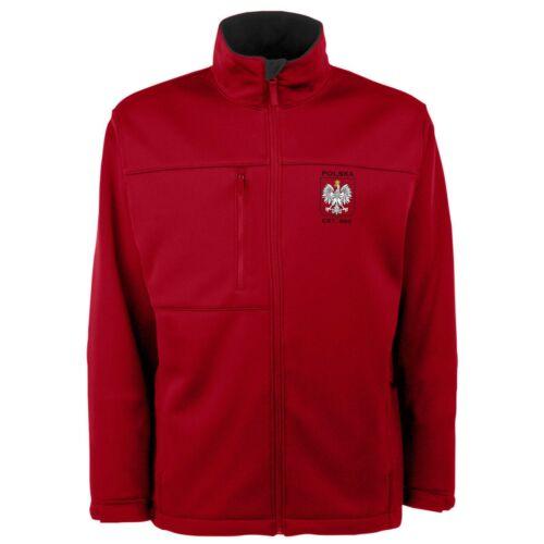 Poland Men/'s Red Antigua Traverse Polska Eagle Full Zip Jacket