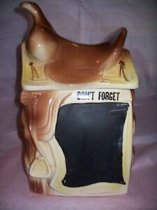 BLACKBOARD-SADDLE-ON-FENCE-COOKIE-JAR-AMERICAN-BISQUE-POTTERY-COMPANY-RARE