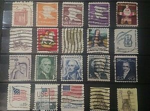 Lot-de-20-Timbres-USA-Stamps-Briefmarken-Etats-unis-A2-cote