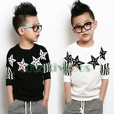 Kids Toddlers Boys Fashion Stars Striped Print 100%Cotton Tops T-Shirt Tee Shirt