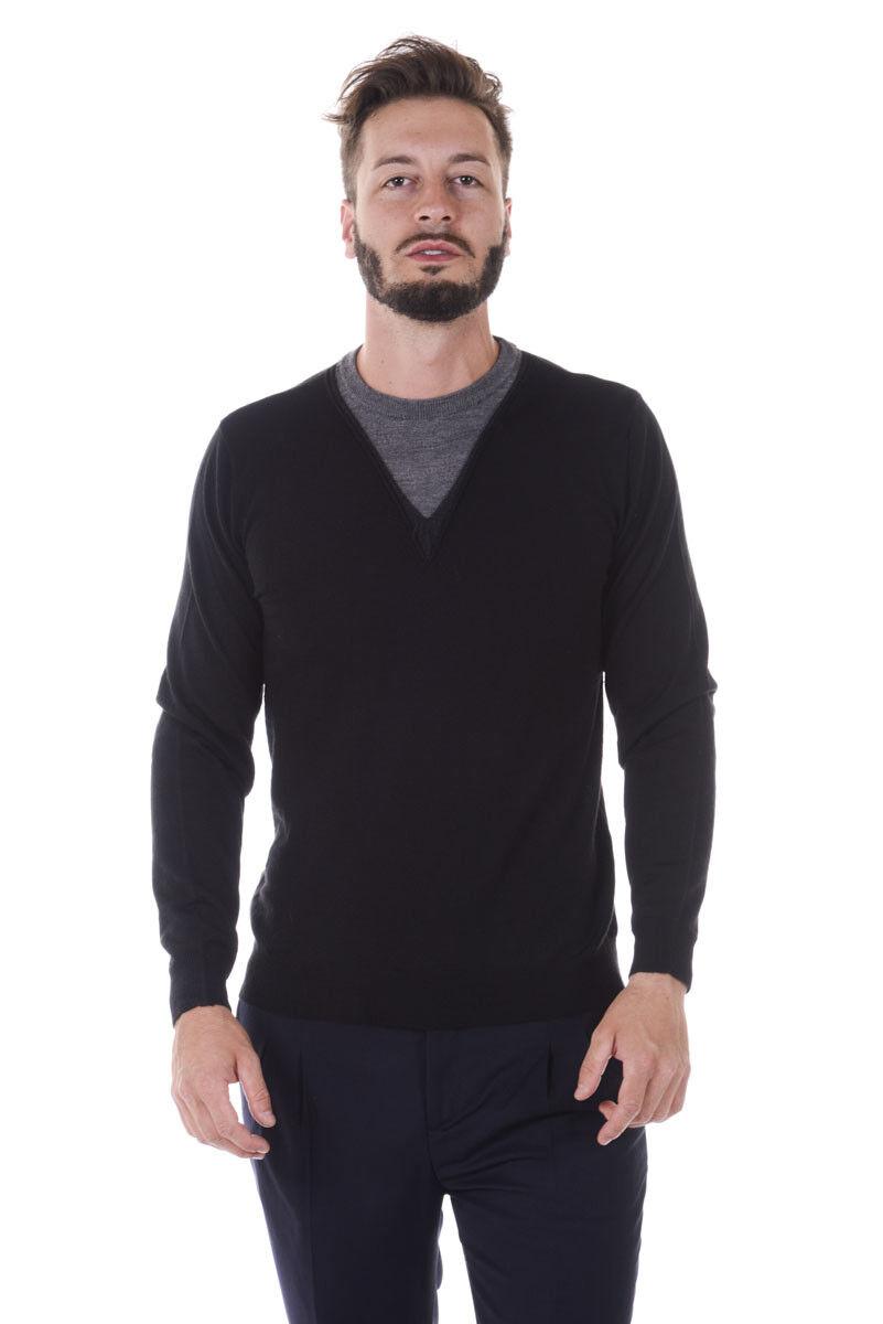 Maglia Daniele Alessandrini Sweater Autunno Inverno Lana men black FM91533607 1