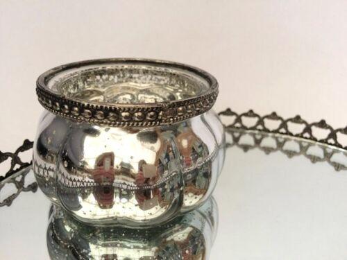 Antiker Stil Groß Kürbis Glas Teelicht Halter Vintage Hochzeitsdekoration