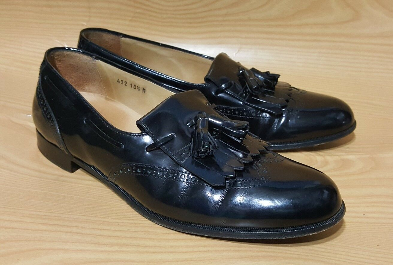 Alfani Made In  Loafers Tassel Black Leather Dress Mens shoes 10.5 M