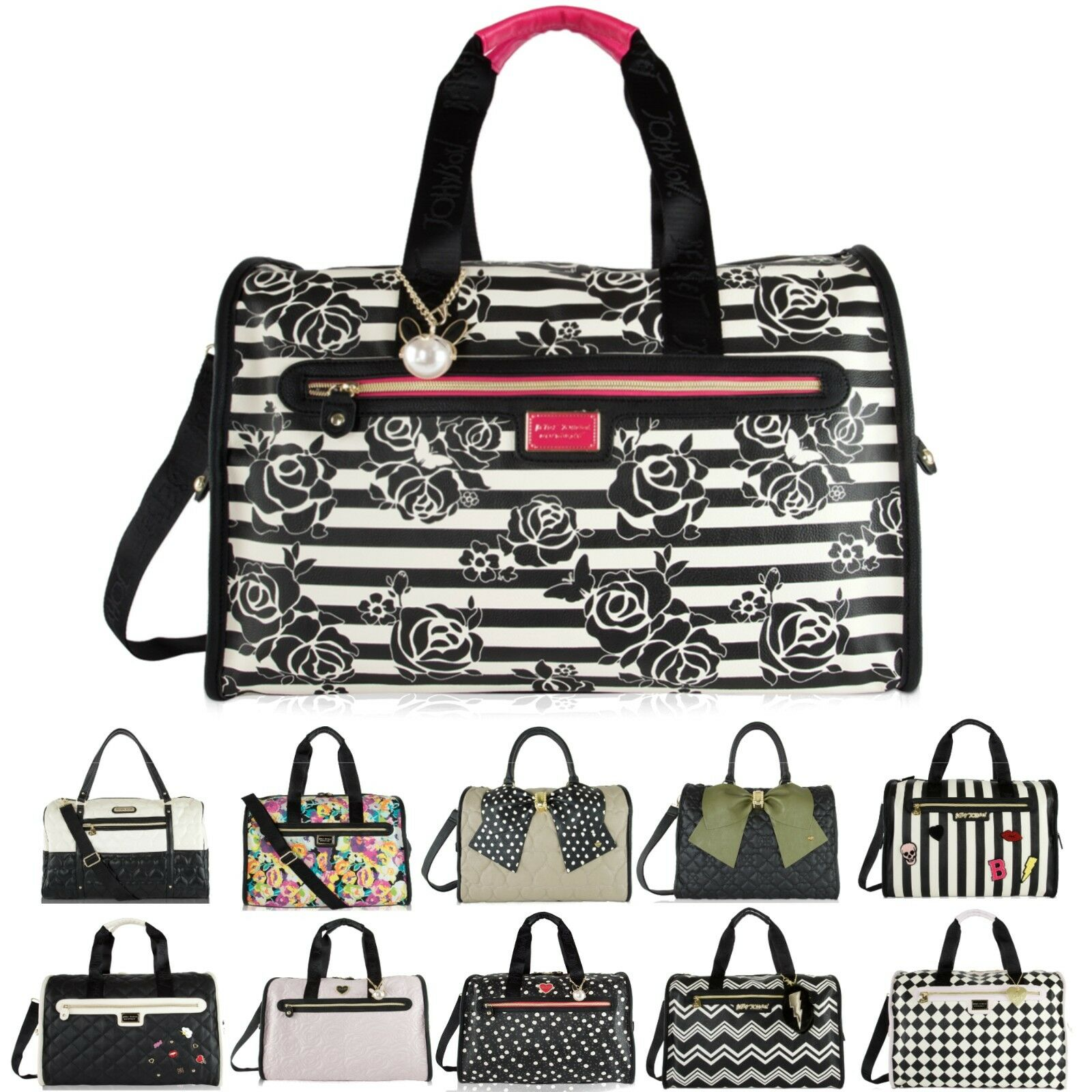 Betsey Johnson Cheetah Leopard Weekender Duffel Carry On Travel Bag Rare Ebay