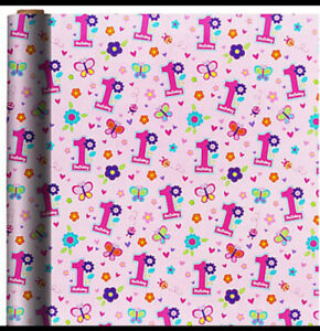 Baby Girl 1st Birthday Wrapping Paper Roll Gift Wrap Any Occasion 30