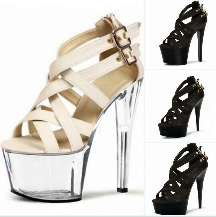 Rome Hollow Size 34 46 Platform Pumps Womens High Heels Sexy Buckle Sandals Clubwear