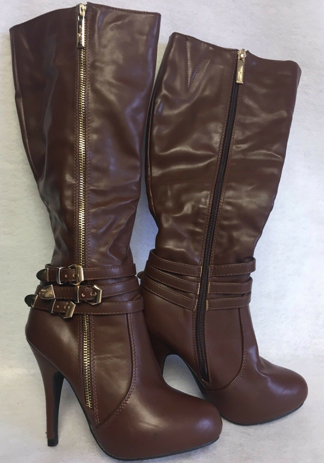 DBDK DbDk Hita Hita-2 Brown Heel Tall Boots Gold Hardware Side Zip High Heels