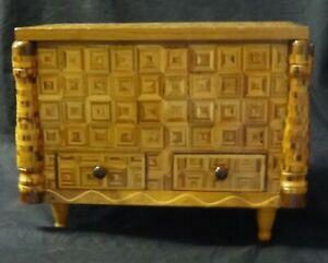 Antique-Marquetry-Inlaid-Miniature-2-Drawer-Dresser-Chest-WOW