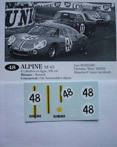 DECALS KIT 1//43 ALPINE RENAULT M63 24 h du LE MANS 1963 n 48 ROSINKI-HEINS