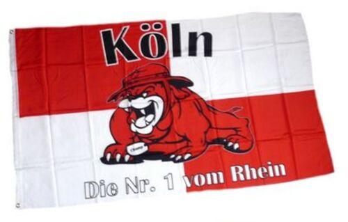 """Köln  Fahne /""""Die Nummer 1 vom Rhein/"""" Fan Flagge mit Messingösen zum Hissen+neu+"""