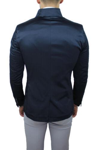 Raso Cerimonia Giacca Lucido In Blazer Slim Scuro Elegante Fit Qbr Uomo Blu Ox1gwTYq