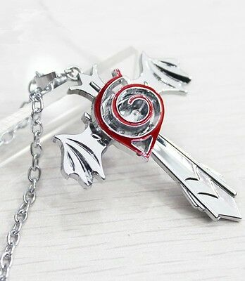 Anime Naruto Leaf Marks Cross Wing Silver Pendant Necklace Cosplay Costume
