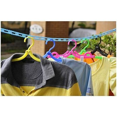 2 x Cloth drying rope hanger hook stand Windproof Retractable Rope Laundry - 3mt
