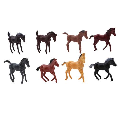 8Pcs Vinyl Plastic Horse Animals Figures Model Kids Toy Set SK