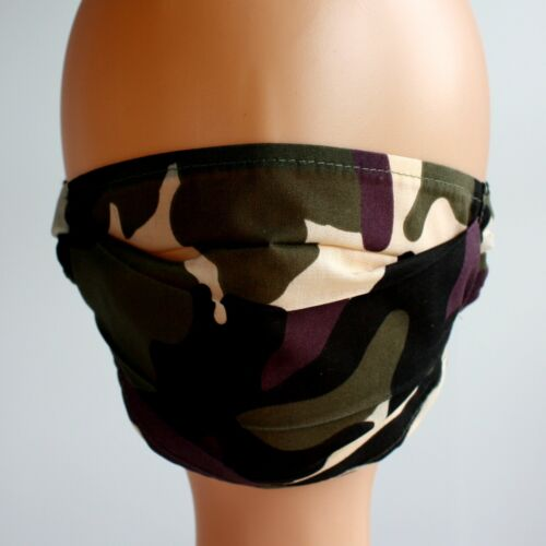 green camouflage adult size Washable reusable single layer fabric face mask