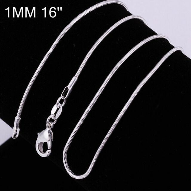 """1MM 16"""" Sterling Silver Snake Chain Pendant Necklace Wedding DIY Jewelry Link"""