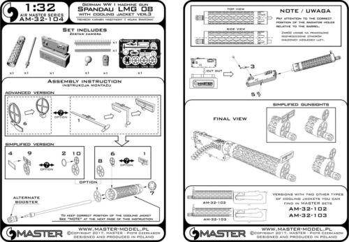1//32 MASTER MODEL AM32104 GERMAN WWI SPANDAU LMG 08 with COOLING JACKET ver 3