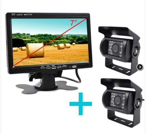 "Sistema visión trasera con pantalla 7/"" y 2 cámaras a color e infrarrojos."