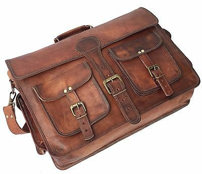 Real Leather Handmade Brown Satchel Messenger Shoulder Goat Hide New Men/'s M Bag