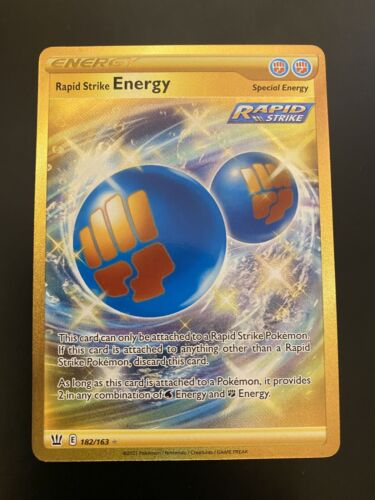 Rapid Strike Energy 182/163 Gold Rare Scratch Pokémon Battle Styles MINT PSA