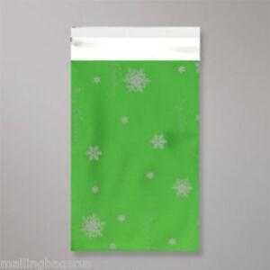 "100 Metallic Green Christmas 9""x12"" Foil Mailing Postage Postal Bags"