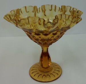 Vintage-Fenton-Amber-Glass-Thumbprint-Ruffled-Compote