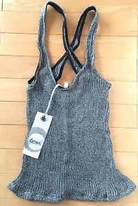 FLUXUS NWT Women's XS B/W Criss-Cross Back Knit Stretch Sleeveless Cami Tank Top