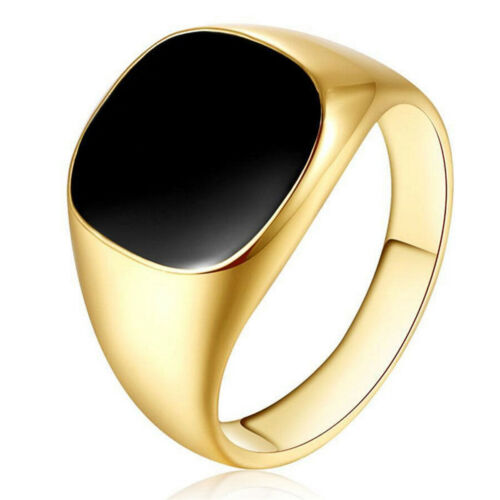18 ct GOLD FILLED Black Onyx Homme Chevalière Mariage Bande Pinky Ring Taille 7-12