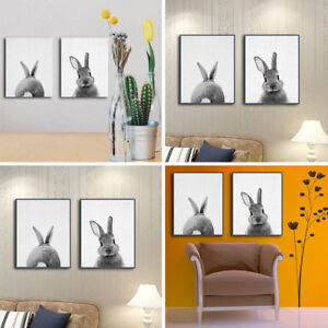 Details About 1 2pc Bunny Rabbit Tail Canvas Painting Nursery Room Wall Art Sticker Decor Uk