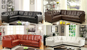 Details about Sectional Sofa In 4 Different Colors Variation Leather Fabric  Contemporary