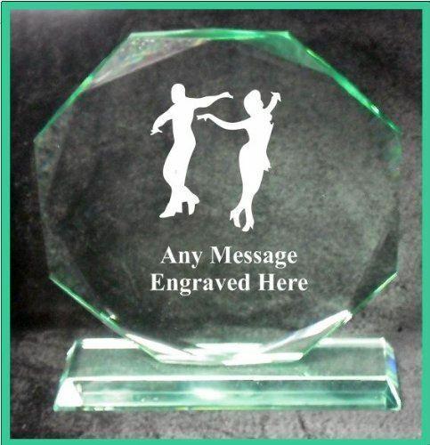 GLASS LATIN DANCING 18CM OCTAGON AWARD TROPHY GA1047 ENGRAVED PERSONALISED