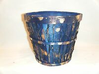 Lot Of 8 Round Basket Fruit Gift Flower Pot Royal Blue Bowl Cain Twig 7.5
