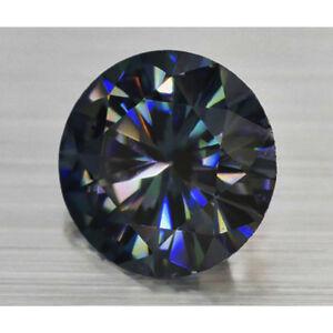 Round-Cut-1-90-ct-8-50-mm-Genuine-Loose-Moissanite-Black-Blue-VVS2-AUD