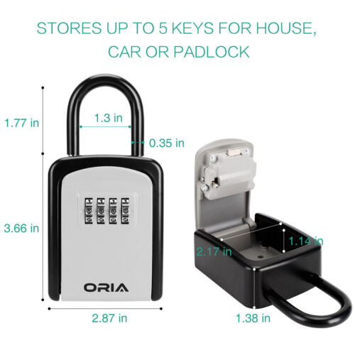 Wall Mounted/&Padlock Outdoor 4/&Digit Combination Key Lock Storage Security Box