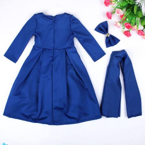 3Pcs Muslim Girls Kids Maxi Dress+Hijab Scarf+Bow Set Islamic Kaftan Abaya Party