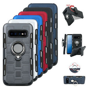 For-Samsung-S10-Plus-E-S9-S8-Note9-Case-With-Kickstand-Rubber-Belt-Clip-PC-Cover