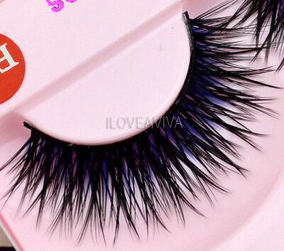 NEW Pro Fashion Long Blue Black False Eyelashes Beautiful Makeup Eye Lashes F33#