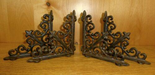 4 BROWN ANTIQUE-STYLE 5.5 SHELF BRACKETS CAST IRON garden rustic fleur ARROW