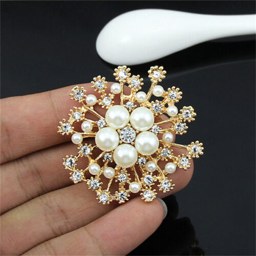 Perle Strass Kristall Vintage Blume Brosche Pin Broschen für Frauen Geschenk ^ZP