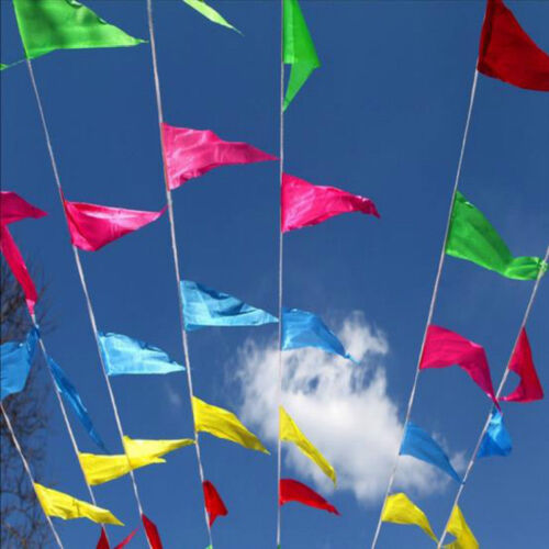 Hot 80m 150pcs Colorful Triangle String Flag Pennant Banner Festival Party Decor
