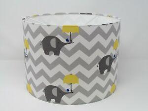 Grey Elephant Yellow Umbrella Chevron