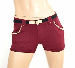 PANTALONE-SHORTS-ROSSO-AMARANTO-pantaloncino-corto-oro-cotone-cintura-perle-F10