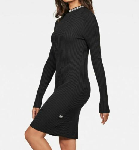 "G-Star RAW Damen Kleid Strick /""Lynn/"" langarm Dress schwarz black L XL XXL"