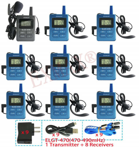 ELGT-470 120M Range Wireless Audio Headset System Tour Guide System 100 IDs PRO