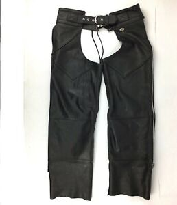 Harley-Davidson-Leather-Chaps-Size-Medium-Black-Made-In-USA