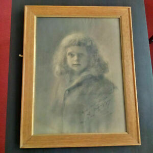 Rare-Louis-CAPAZZA-artiste-corse-1895-fusain-grand-portrait-lavis-signe-et-date