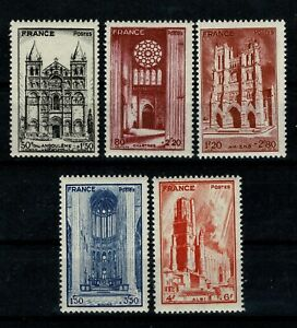 FRANCE-1944-Cathedrales-n-663-a-667-Neufs-luxe-MNH-A5